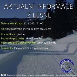 Na Lesné to vypadá na poslední víkend se sněhem. Aktuálně je mlha, tratě upravené z víkendu. Na planinách již téměř bez sněhu, v lesích a na okruzích stopa ještě OK. ❄️ #krusnohorskabilastopa #lesna #halesna #usteckykraj #krusnehory #krusnohori #erzgebirge #zima #rok2021 #poslednisnih