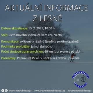 Dnes na Lesné jasno, komunikace sjízdné, parkoviště P2 a P5 otevřena a připravena, upraveno 40 km tras z víkendu. ❄️ #krusnohorskabilastopa #lesna #halesna #krusnehory #krusnohori #erzgebirge #usteckykraj #zima #rok2021