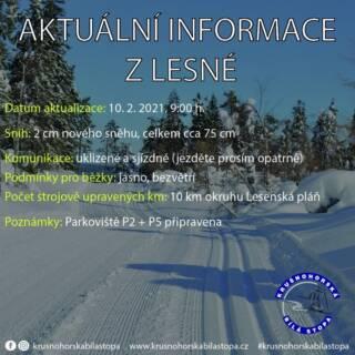 Dnes krásně jasno, bezvětří, komunikace sjízdné a parkoviště P2 a P5 připravena. Upraven okruh Lesenská pláň. Máme cca 4 cm nového prachového sněhu. ❄️ #krusnohorskabilastopa #lesna #halesna #rusnehory #krusnohori #erzgebirge #usteckykraj #zima #rok2021