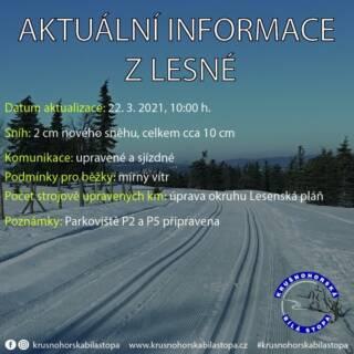 Dnes upraven okruh Lesenská pláň! Těšíme se na Vaši návštěvu ❄️ Fouká mírný vítr. #lesna #halesna #krusnohorskabilastopa #krusnohori #krusnehory #erzgebirge #zima #jaro #rok2021